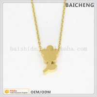 Small Bloom pendant Yellow gold pendant Gold plated pendant set