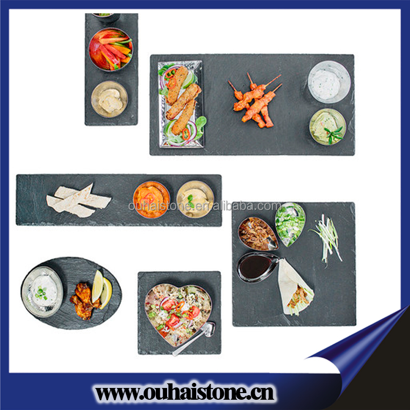 Import and export manufaturer with rich experience stone material slate dessert plate