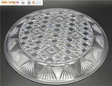 "13"" Crystal Clear Plastic Round Plate with Diamond Cut Design"