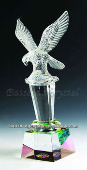 elegant Crystal Trophy with eagle on top for sale
