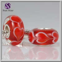 wholesale european red heart big hole murano glass beads European style Lampwork Glass Bead