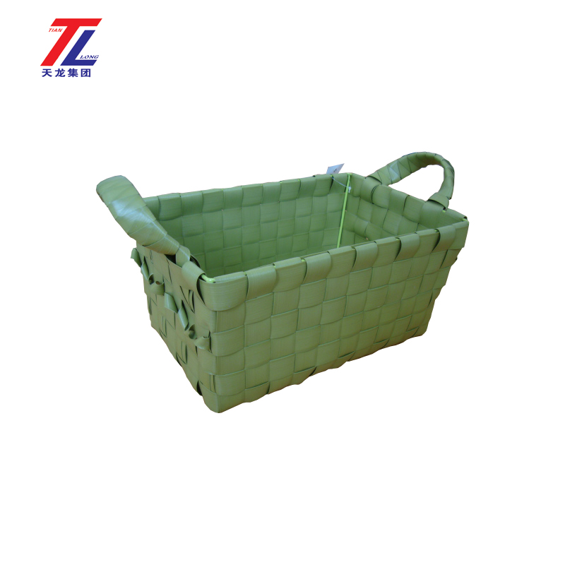 cheap multi-purpose plastic handmade woven laundry basket with handle