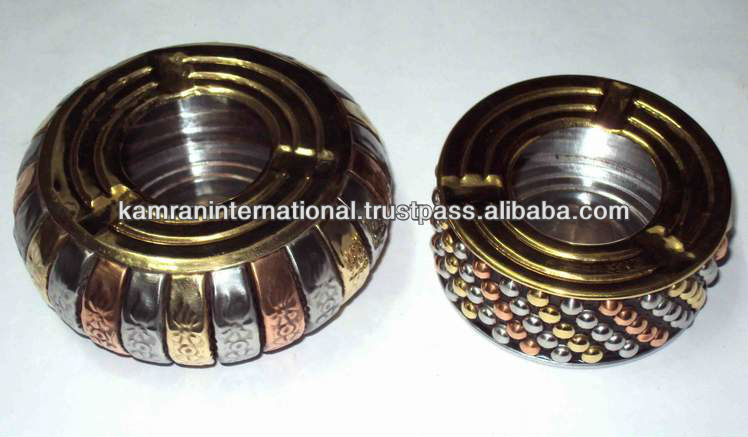 Metal round stone decorative ashtray, antique metal ashtray,