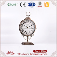 Classic gray circular railway lamp design antique iron quartz desk clock