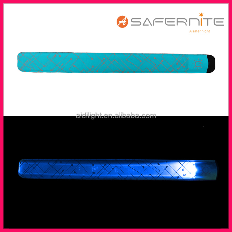 LED Light Up Band Slap Bracelets Night Safety Wrist Band for Cycling Walking Running Concert