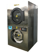Commercial stack washing machines and dryers