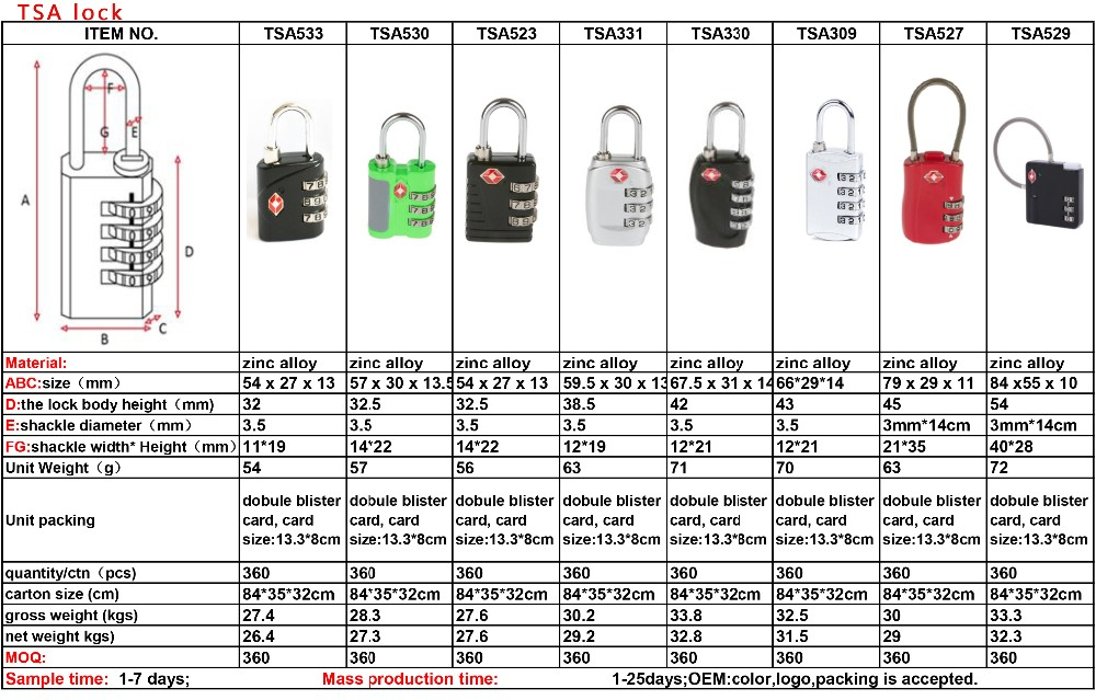TSA-330 Alibaba Golden manufacturer security tsa luggage lock