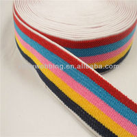 Rainbow twill polyester elastic band tape