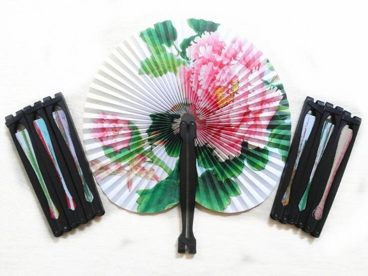 parrot crafts foldable fan paper arts cheap summer promotion gifts