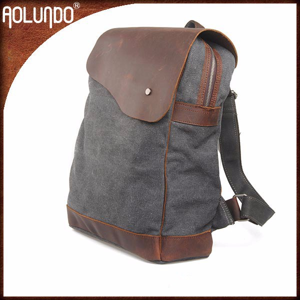 Best selling fashion personal crazy horse leather canvas school daylife backpack