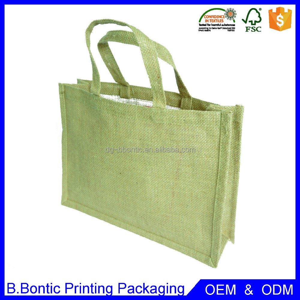 Wholesale promotional eco-firendly natural jute tote bag