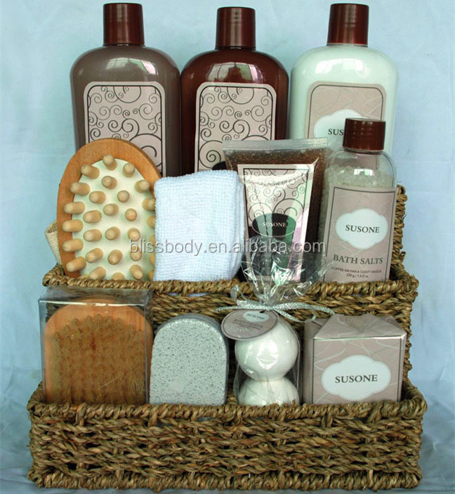 Spa Bath Gift Set In Willow Basket