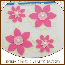 4pcs off-white and pink theme felf flower shape with pearls for paper scrapbook decorations