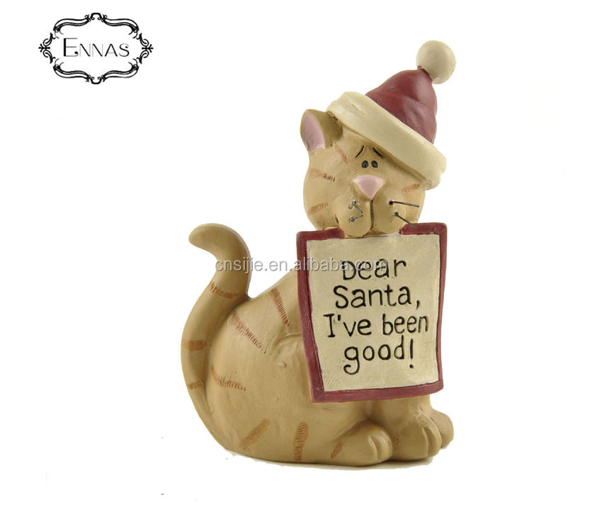 Hatted resin cat craft home decor cat figurines resin cat for Christmas