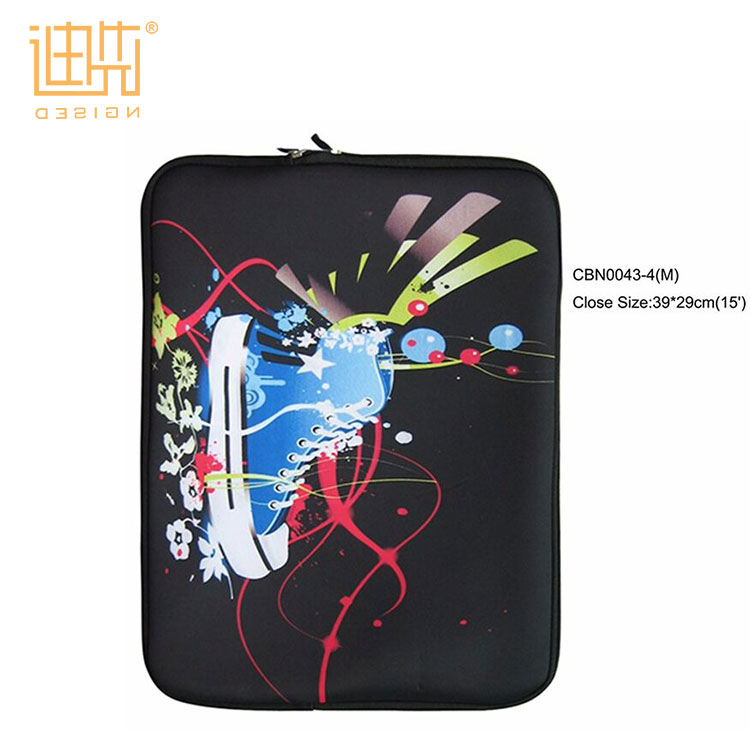 Colorful pattern double premium zipper puller custom neoprene 15 / 13 inch laptop sleeve for iPad