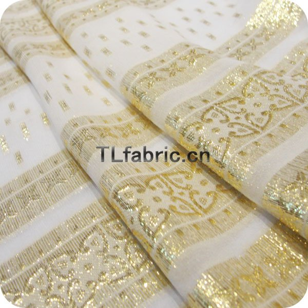 Fashion Jacquard Yarn Dyed Gold Lurex Silk Crepe Stock Available X034
