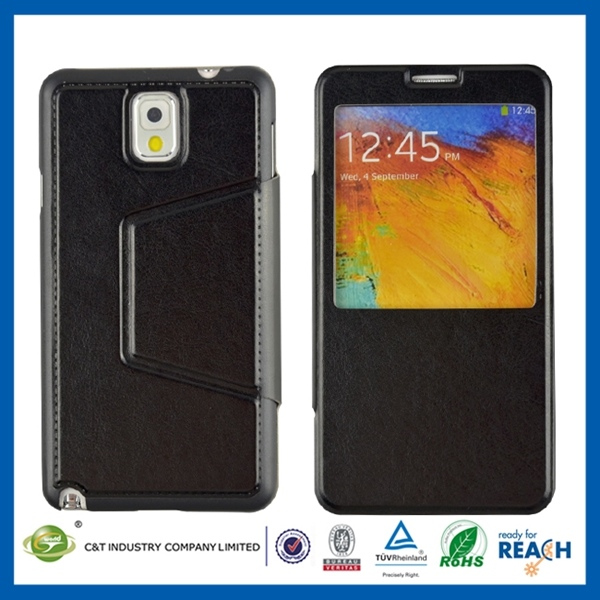 Water transfer printing folio genuine leather case with card slot for samsung note 3