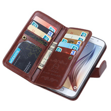 BRG Newest design mix color For Samsung s6 luxury leather case,separable wallet leather cover for Samsung S6 with 9 slot