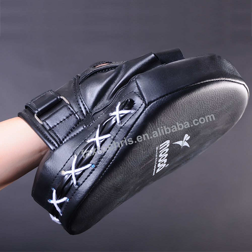 Custom Black PU Leather Boxing Focus Mitts