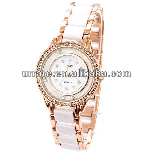 Wholesale Round Dial Clear Crystal Diamond Imitation Ceramic Band Watches