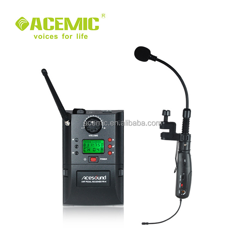 ACEMIC Professional UHF 32 channels wireless saxophone microphone PR-6/V1, receiver powered by battery