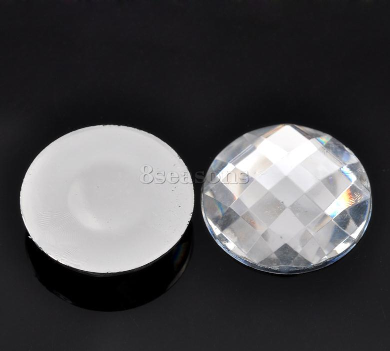 Cheap Wholesale Round Clear Faceted 25mm Acrylic Cabochon