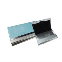 promotional stainless steel name card case, leather business card holder