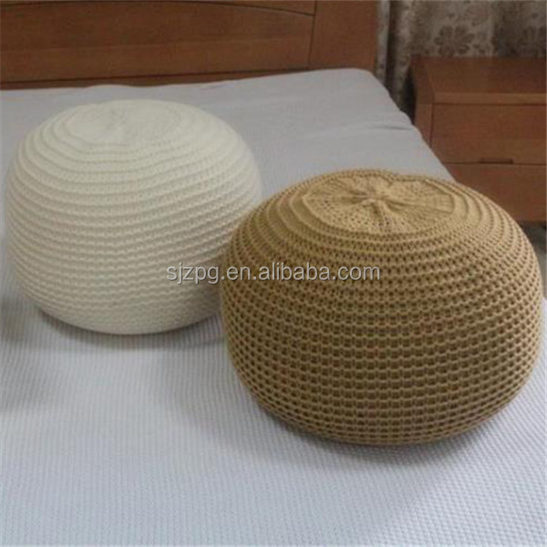 Furniture woven knitted pouf ottoman