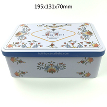 Europe biscuit rectangular metal tin box with hinged lid