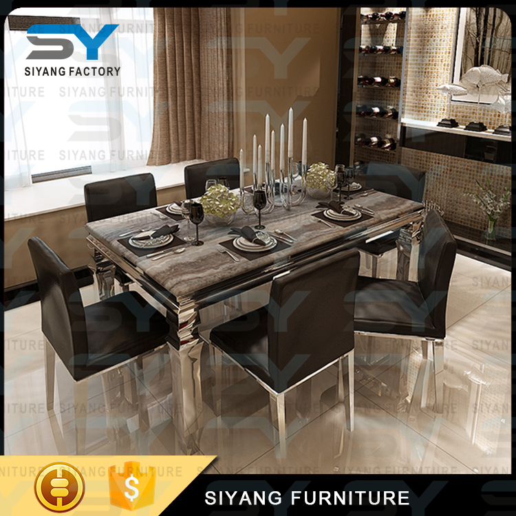Home furniture marble top dining table sets dinner table used banquet tables CT004