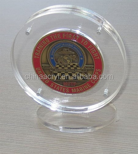 Challenge Coin Display Holder Case with Stand, Clear Acrylic, Magnetic Fasteners, COIN-AC2