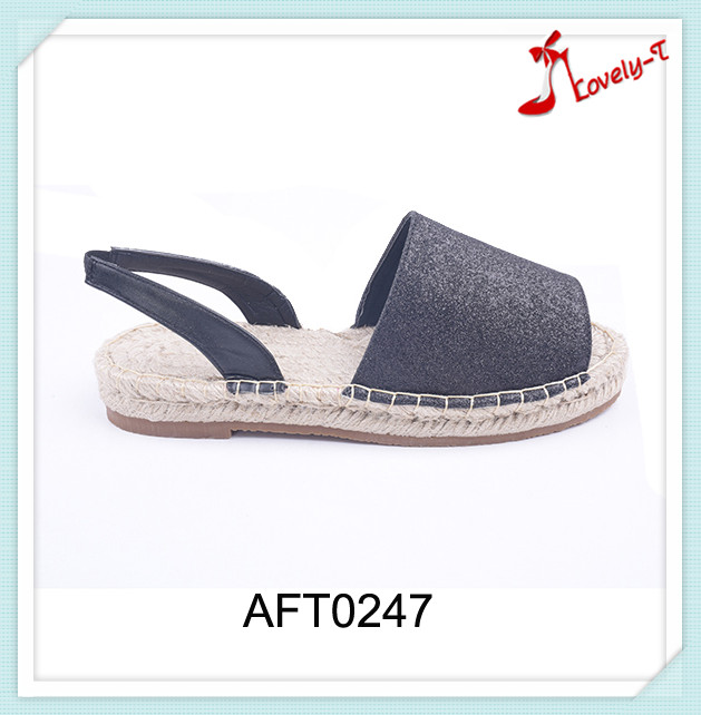 2016 flat stylish crochet shoes factory peep toe glitter espadrilles with slingback