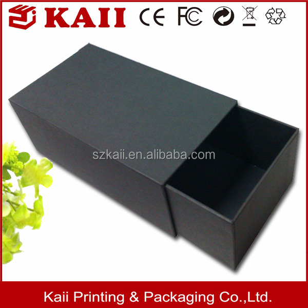 Custom luxury matt black cardboard drawer gift box sliding packaging box