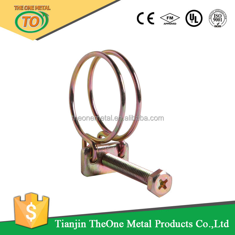 Metal Cable Clamps Double Wire Hose Clamp Spring Steel Belt Clip Manfacturer In China