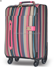 "stripe leather 3 pcs set luggage trolley bag- 20"" 24"" 28"" wheeled carrier luggage"