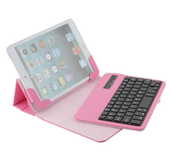 Leather Case with Plastic Wireless Bluetooth v3.0 Keyboard for iPad mini iPad 7'' 8''