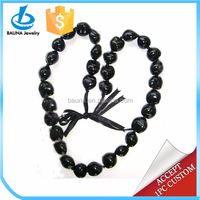 32 Black Kukui Nuts Beaded Necklace
