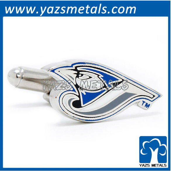 customiz designer cufflinks, custom made Toronto blue jays cufflinks