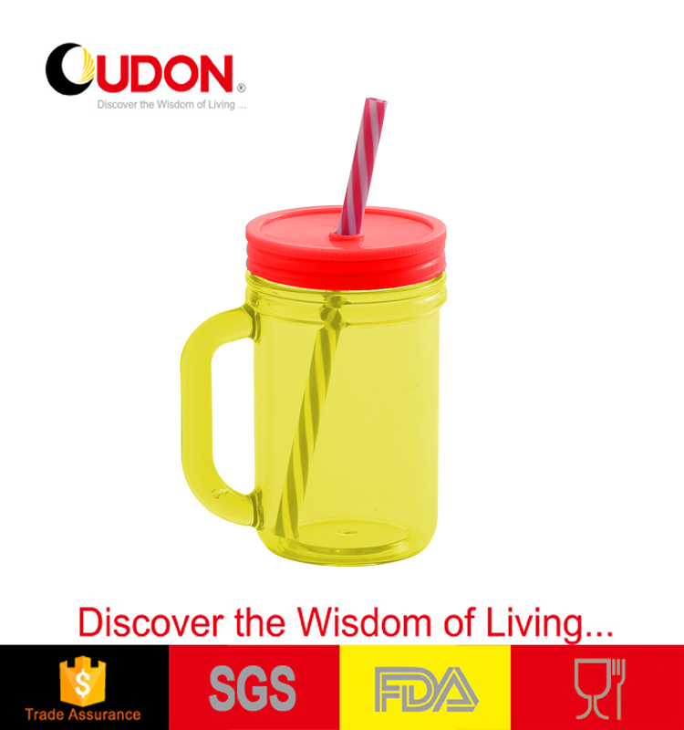 450ml plastic coffee mug with straw
