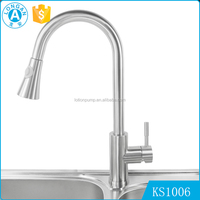 Modern cheap stainless steel brush single handle mixer upc pull out kitchen faucet