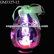 2012 Hot sale glassware---LED hand drawing Easter egg with lucky frog inside