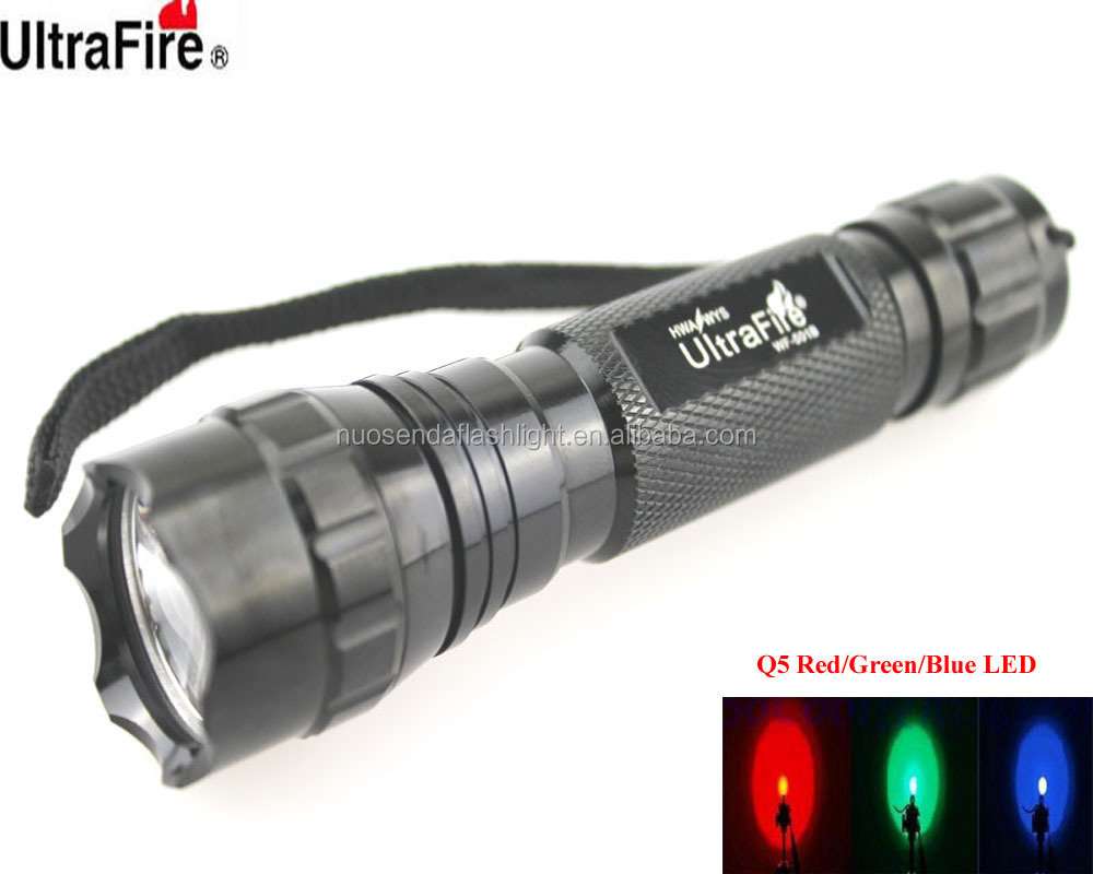 U-F 501B 1xCREE Q5 405nm Red/Green/Blue Light LED Flashlight (1x18650)