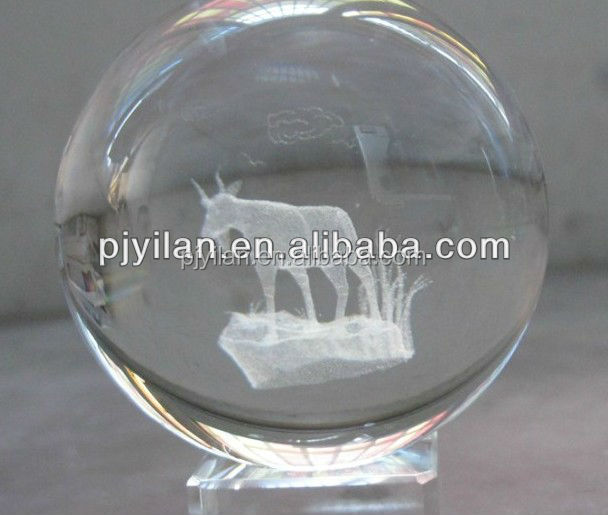 elegant round K9 Crystal glass 3d laser engraved ball Constellations zodic sign sheep terrarium for Decoration globle ball