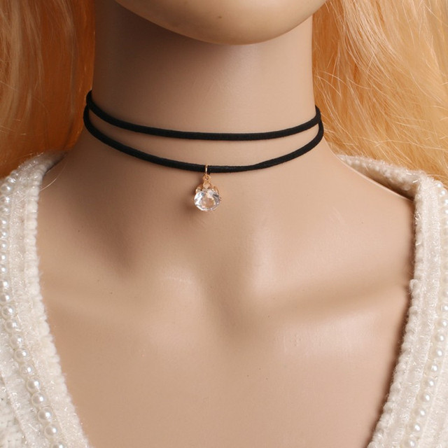 90's Inspired Gothic Lolita Punk Choker Necklace Black Velvet Suede Steampunk Torques Jewelry Statement Colar Christmas Gift