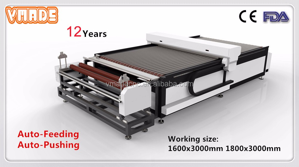 Large format auto feeding textile automatic laser fabric cutting machine