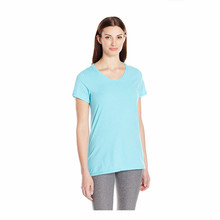 wholesale CVC t shirts cotton polyester hot sale short sleeve bank for printed t shirts OEM women garment buyer in usa