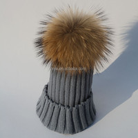 15cm Real Raccon fur winter warm children pom pom beanie hat