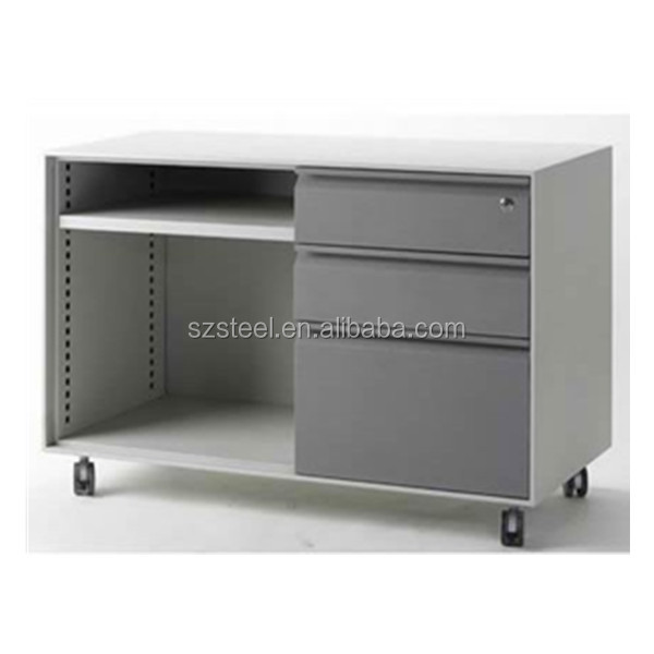Mobile caddy with shelf, 3 drawer pedestal with wheels, office file cabinet