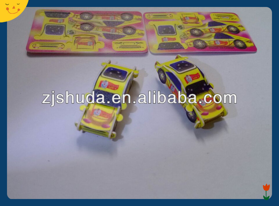 Yellow card pp plastic card car toy for kids 3d puzzle diy toy