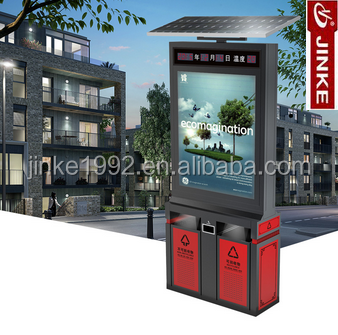 Galvanized Steel Material LED Dustbin Scrolling Light Box Advertising